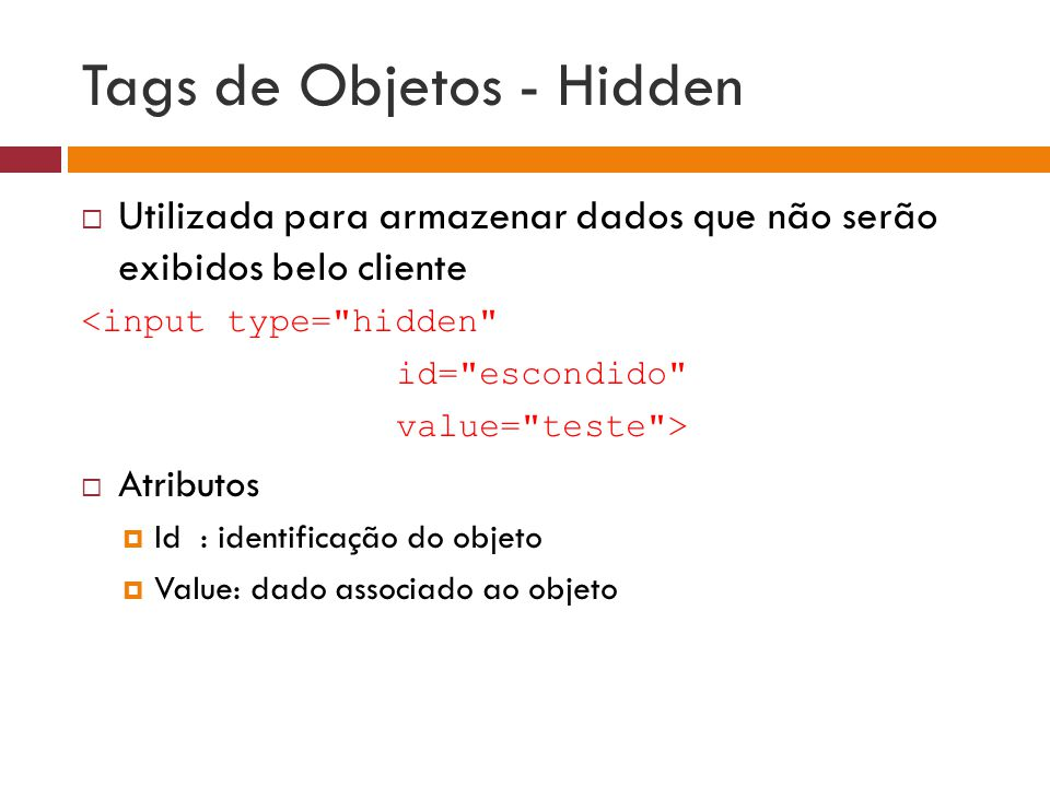 Tags de Objetos - Hidden
