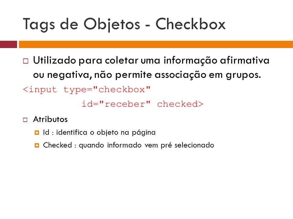 Tags de Objetos - Checkbox