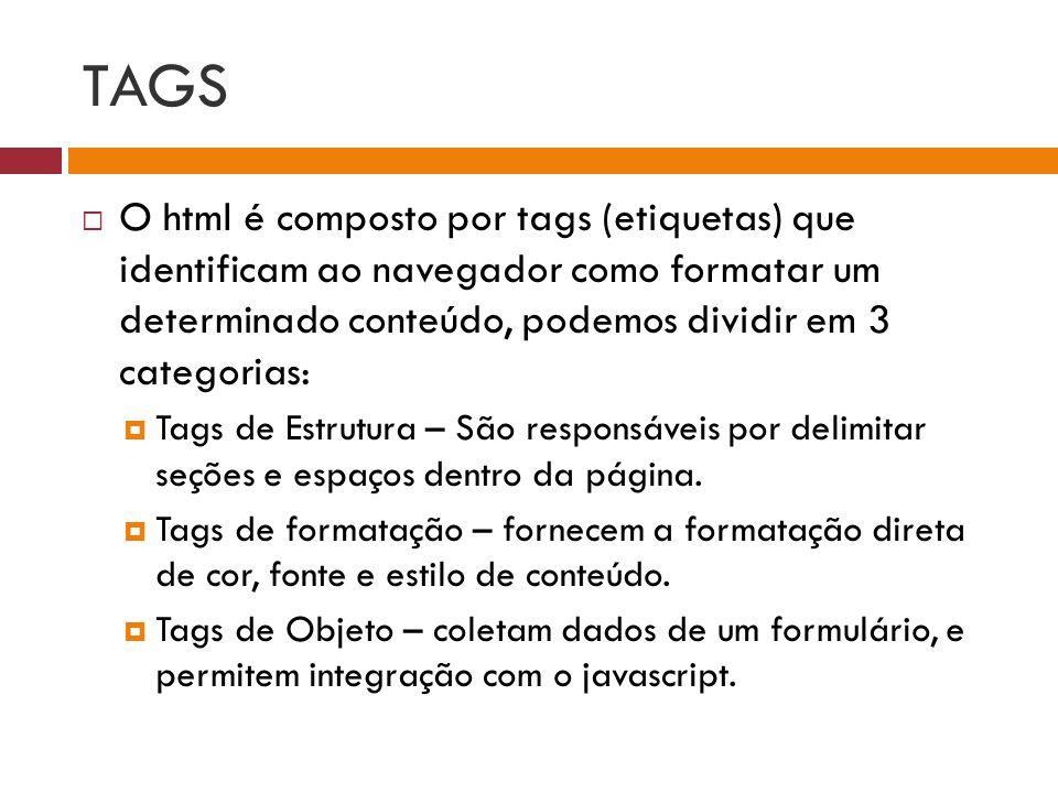 TAGS O html é composto por tags (etiquetas) que identificam ao navegador como formatar um determinado conteúdo, podemos dividir em 3 categorias: