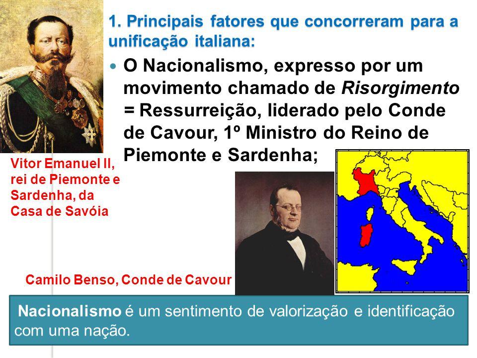 1. Principais fatores que concorreram para a unificação italiana: