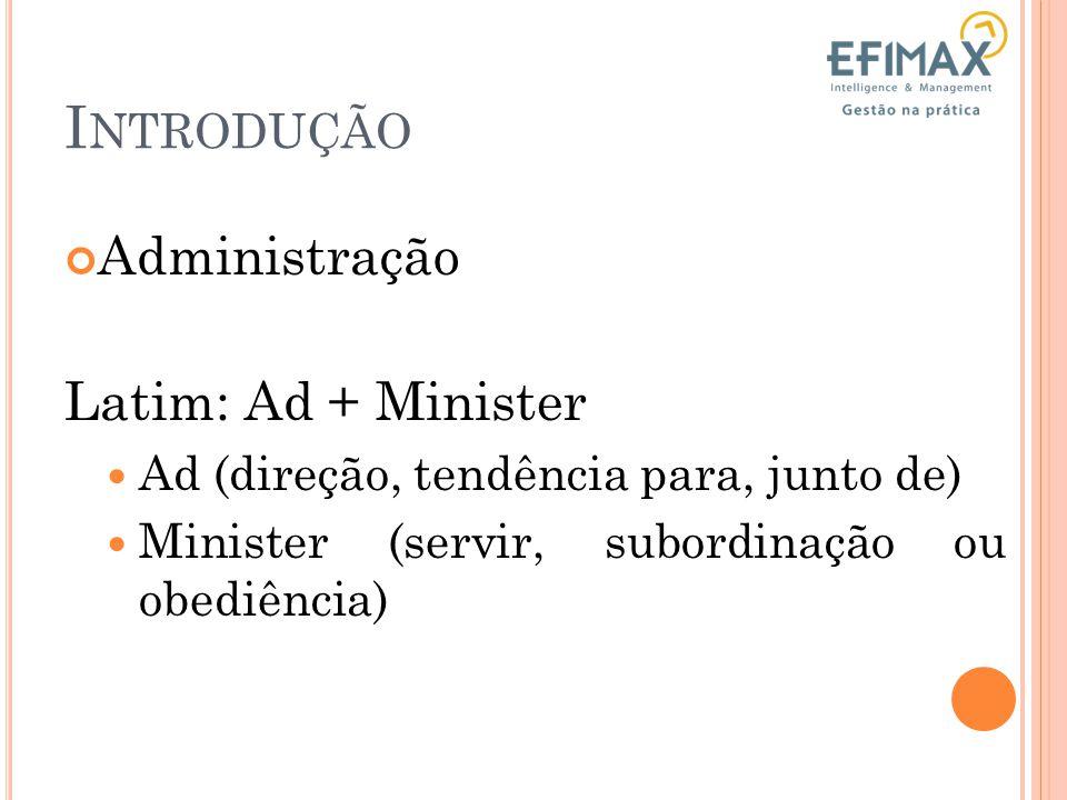 Introdução Administração Latim: Ad + Minister