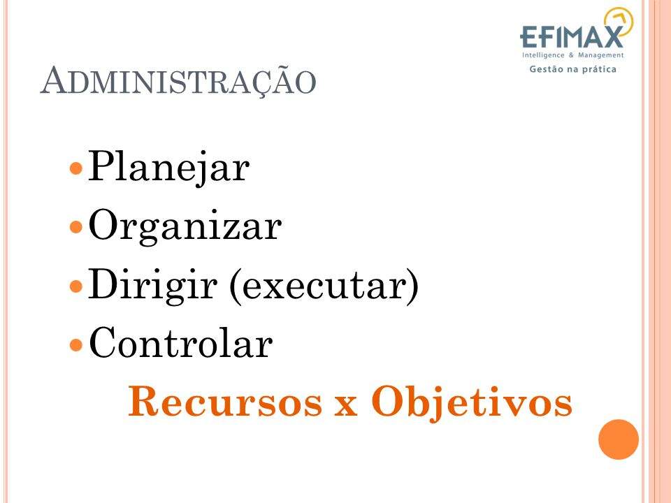 Planejar Organizar Dirigir (executar) Controlar Recursos x Objetivos
