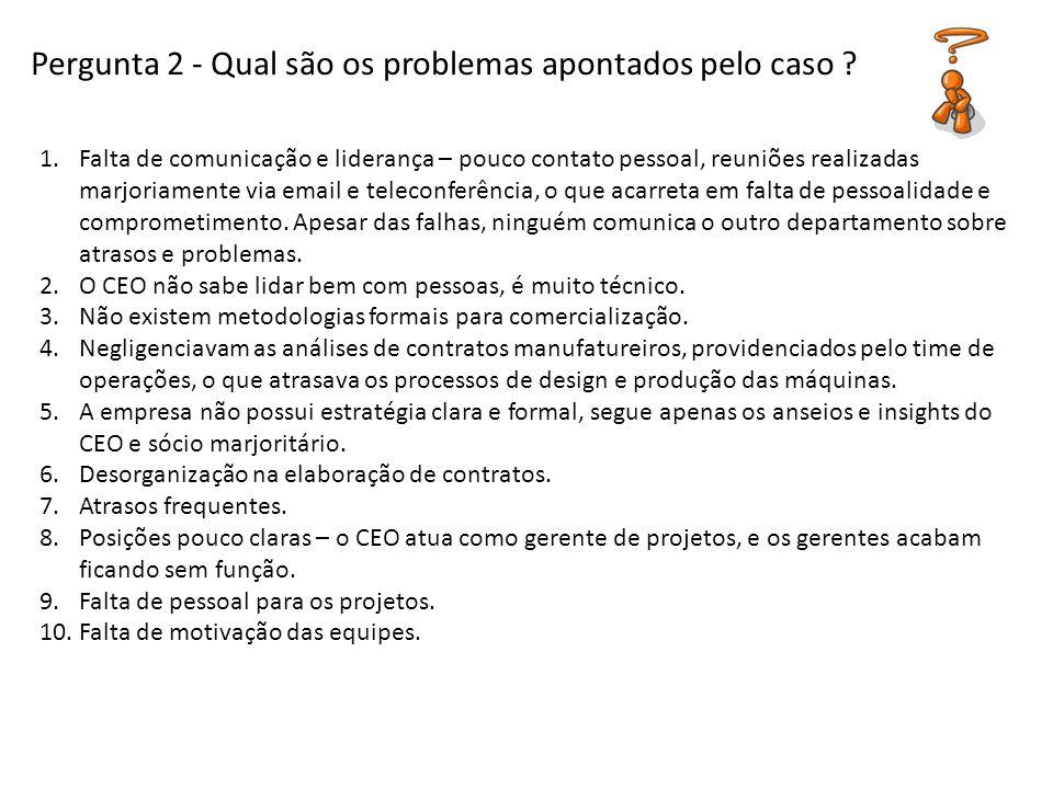 Pergunta 2 - Qual são os problemas apontados pelo caso