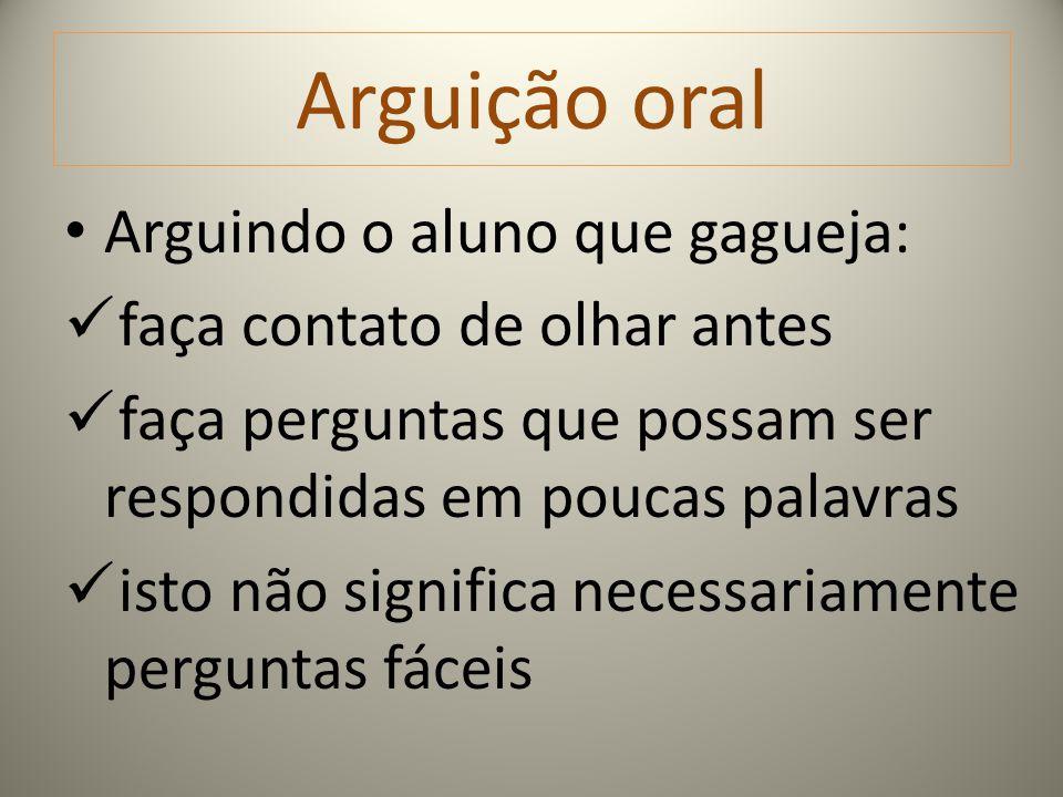 Arguição oral Arguindo o aluno que gagueja: