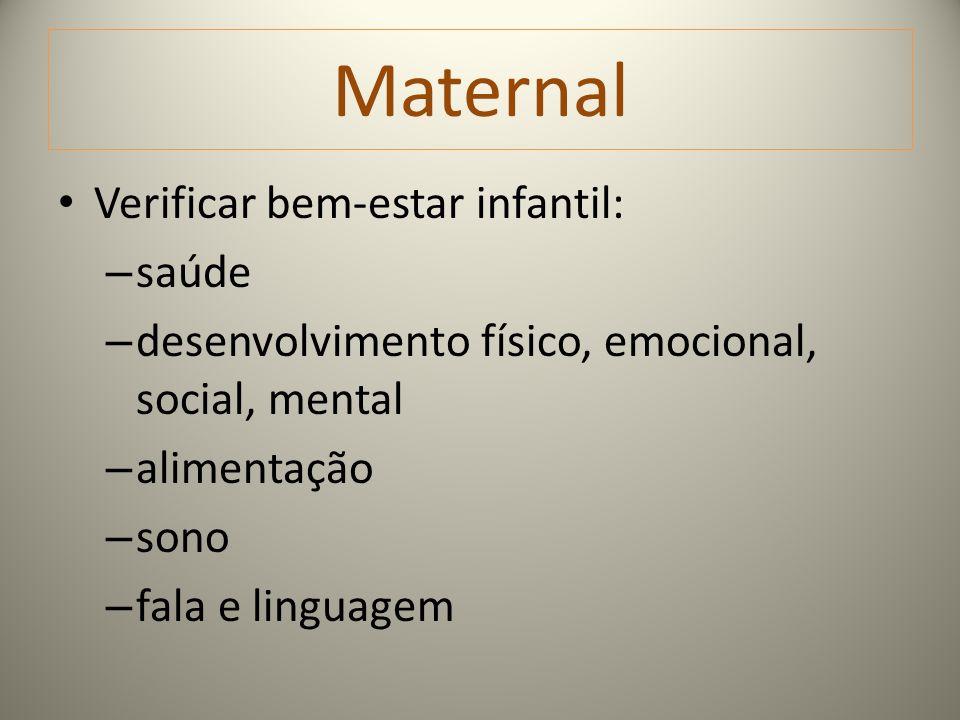 Maternal Verificar bem-estar infantil: saúde