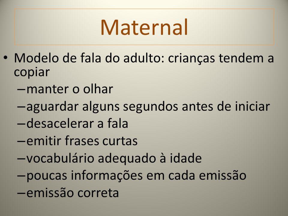 Maternal Modelo de fala do adulto: crianças tendem a copiar