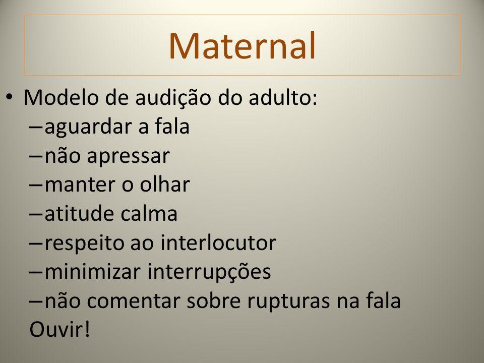 Maternal Modelo de audição do adulto: aguardar a fala não apressar