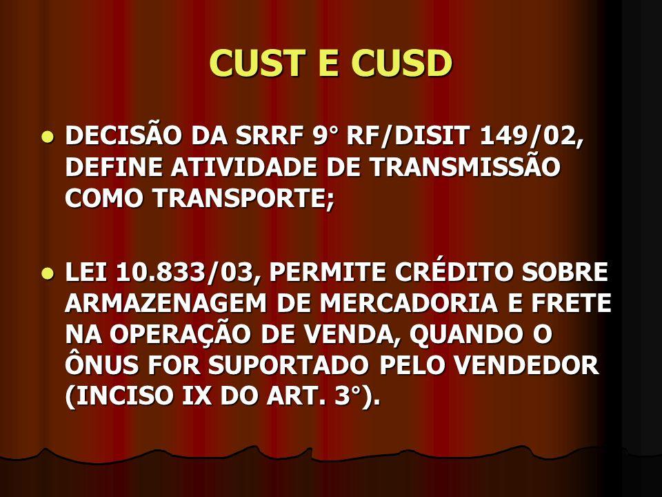 CUST E CUSD DECISÃO DA SRRF 9° RF/DISIT 149/02, DEFINE ATIVIDADE DE TRANSMISSÃO COMO TRANSPORTE;