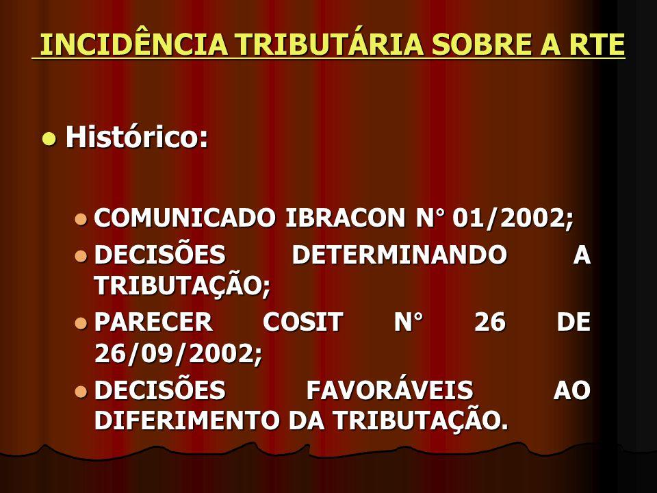 INCIDÊNCIA TRIBUTÁRIA SOBRE A RTE
