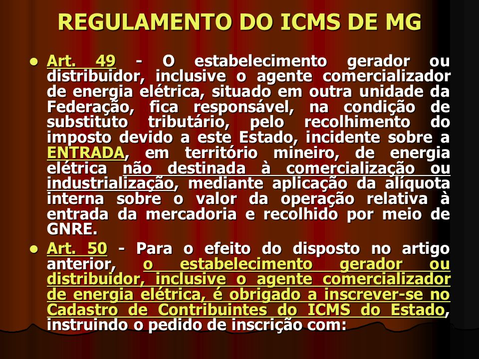 REGULAMENTO DO ICMS DE MG