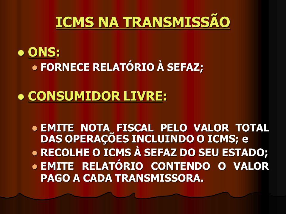 ICMS NA TRANSMISSÃO ONS: CONSUMIDOR LIVRE: FORNECE RELATÓRIO À SEFAZ;