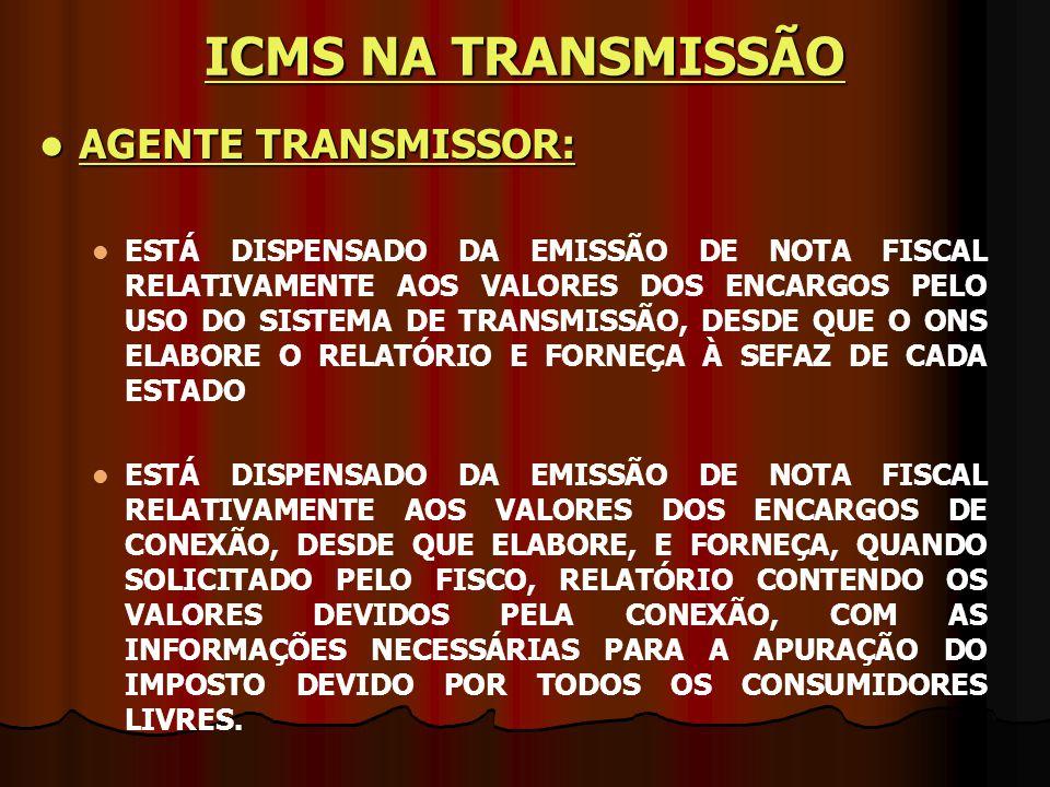 ICMS NA TRANSMISSÃO AGENTE TRANSMISSOR: