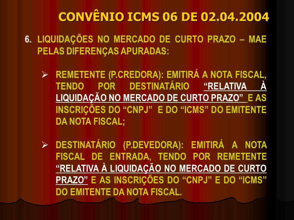 CONVÊNIO ICMS 06 DE 02.04.2004 6. LIQUIDAÇÕES NO MERCADO DE CURTO PRAZO – MAE PELAS DIFERENÇAS APURADAS: