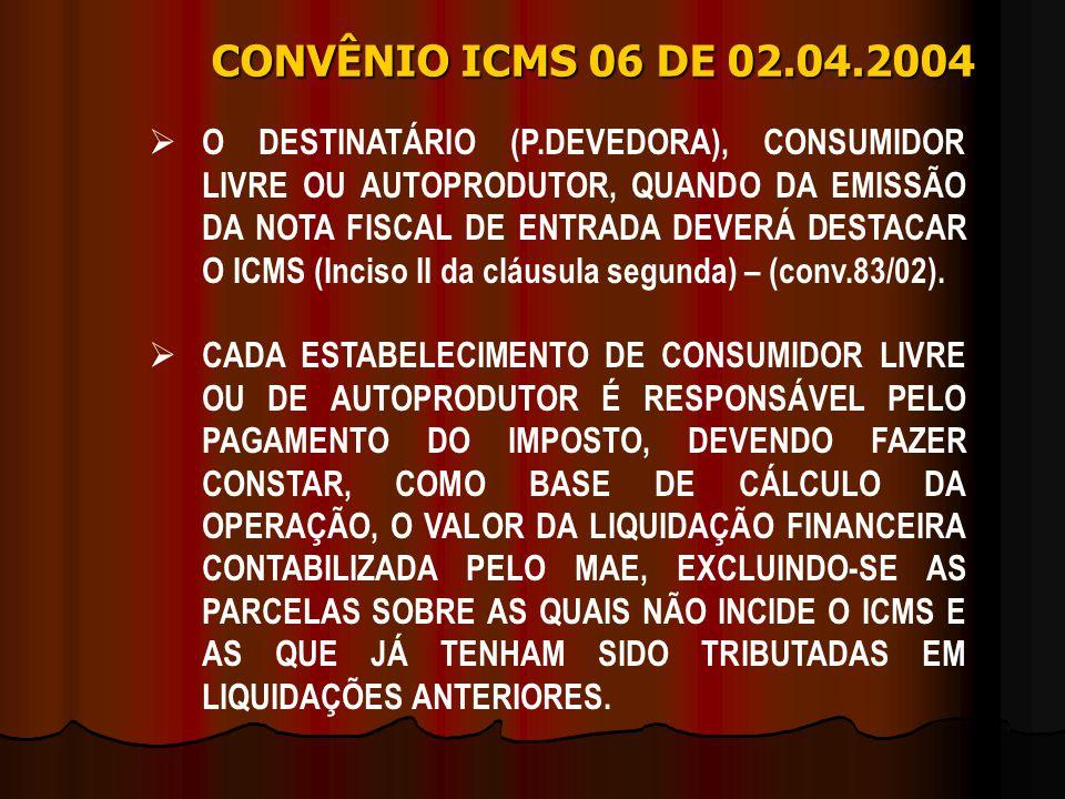 CONVÊNIO ICMS 06 DE 02.04.2004