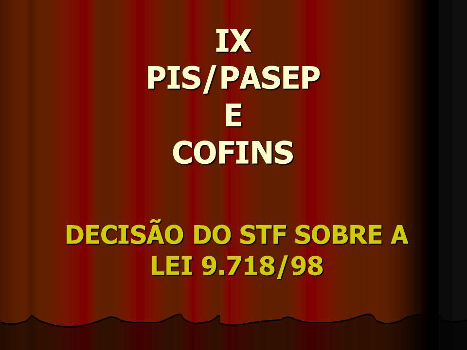 DECISÃO DO STF SOBRE A LEI 9.718/98