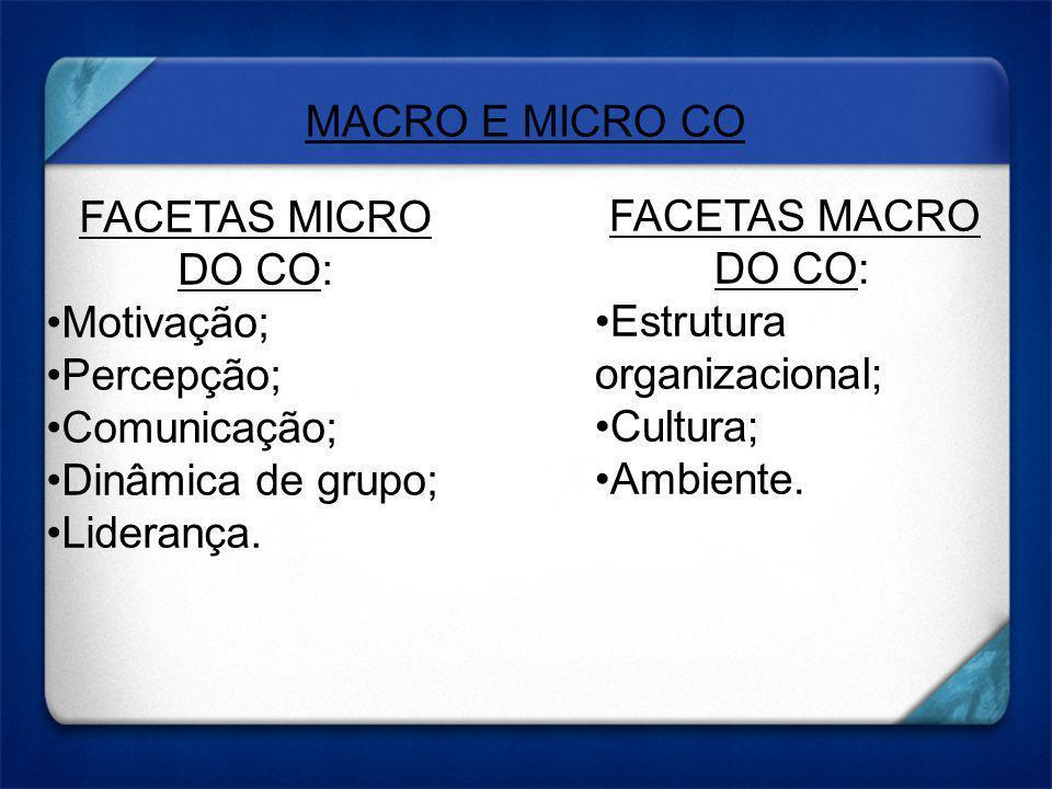 MACRO E MICRO CO FACETAS MICRO DO CO: Motivação; Percepção; Comunicação; Dinâmica de grupo; Liderança.
