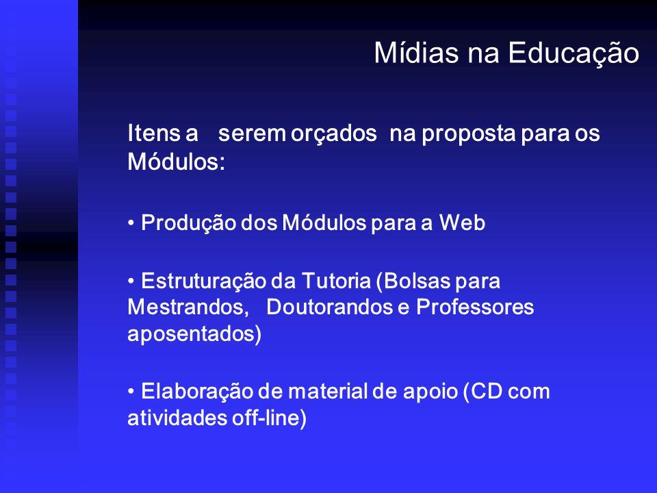 Mídias na Educação Itens a serem orçados na proposta para os Módulos: