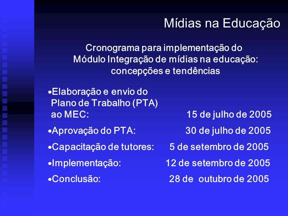 Mídias na Educação Cronograma para implementação do Módulo Integração de mídias na educação: concepções e tendências.