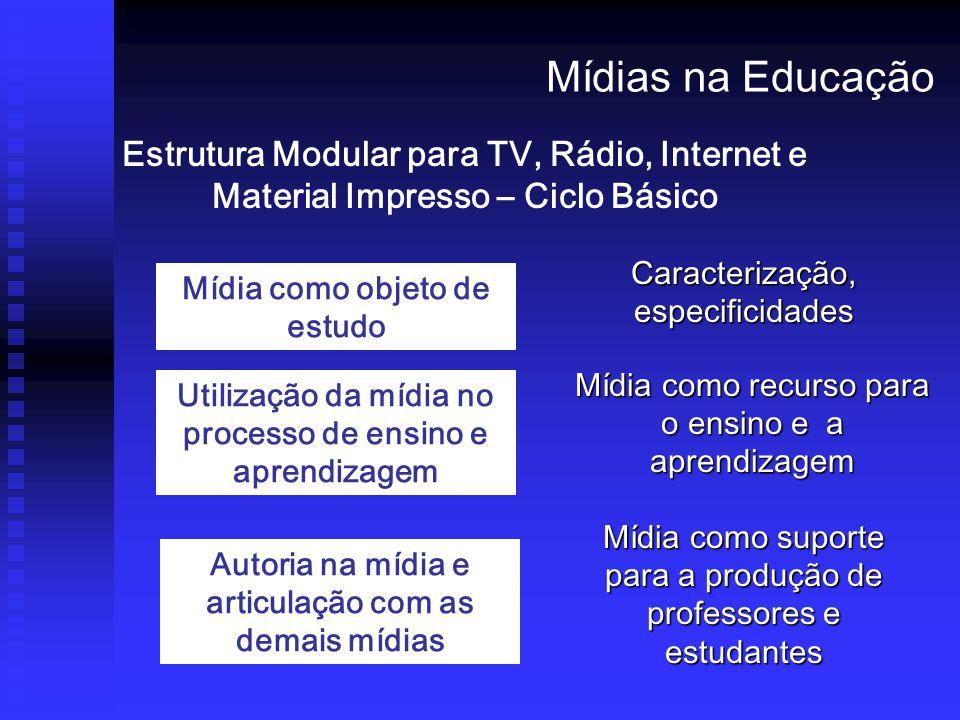 Mídias na Educação Estrutura Modular para TV, Rádio, Internet e Material Impresso – Ciclo Básico. Caracterização, especificidades.