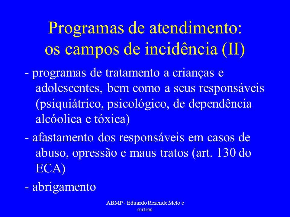 Programas de atendimento: os campos de incidência (II)