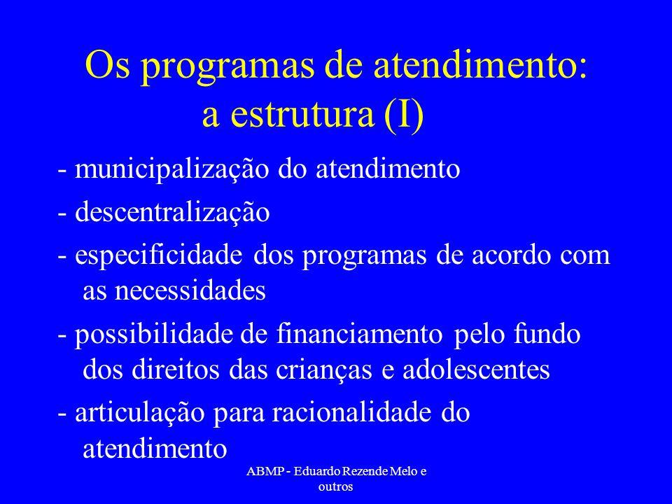 Os programas de atendimento: a estrutura (I)