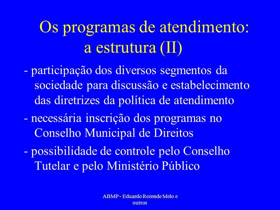 Os programas de atendimento: a estrutura (II)