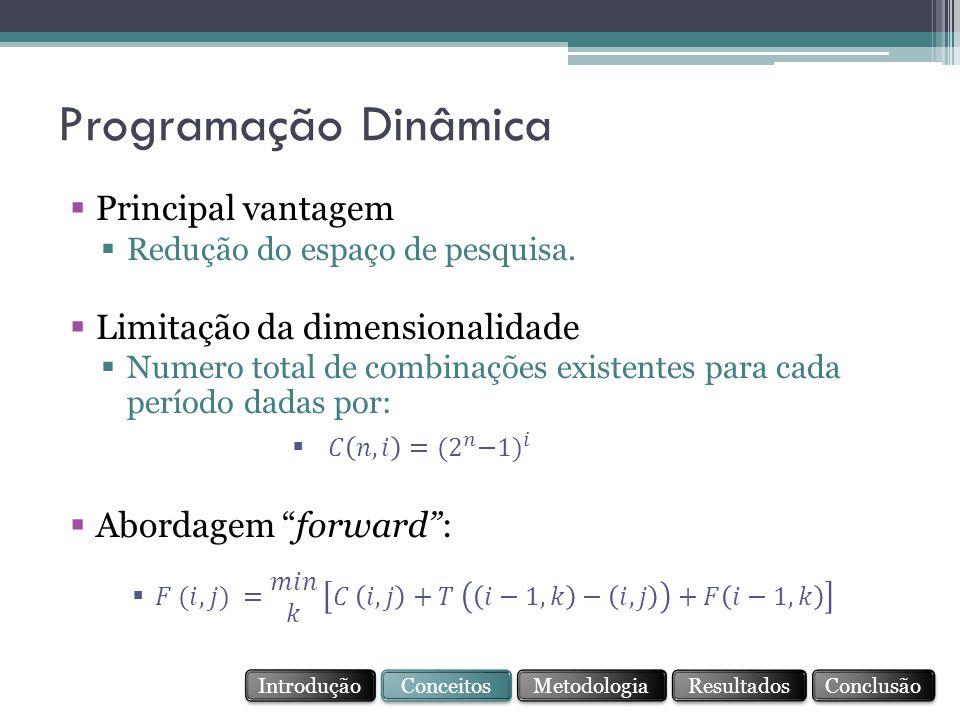 Programação Dinâmica Principal vantagem Limitação da dimensionalidade