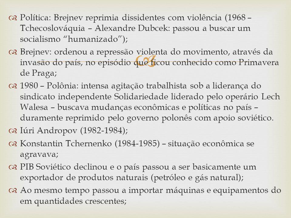 Política: Brejnev reprimia dissidentes com violência (1968 – Tchecoslováquia – Alexandre Dubcek: passou a buscar um socialismo humanizado );