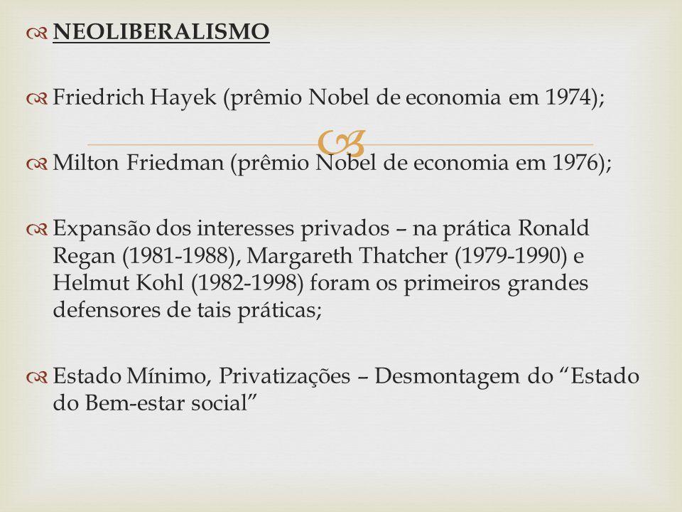 NEOLIBERALISMO Friedrich Hayek (prêmio Nobel de economia em 1974); Milton Friedman (prêmio Nobel de economia em 1976);
