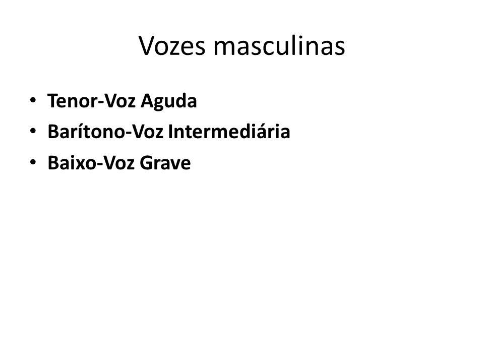 Vozes masculinas Tenor-Voz Aguda Barítono-Voz Intermediária