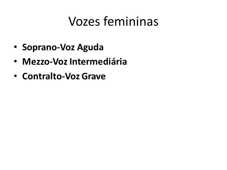 Vozes femininas Soprano-Voz Aguda Mezzo-Voz Intermediária