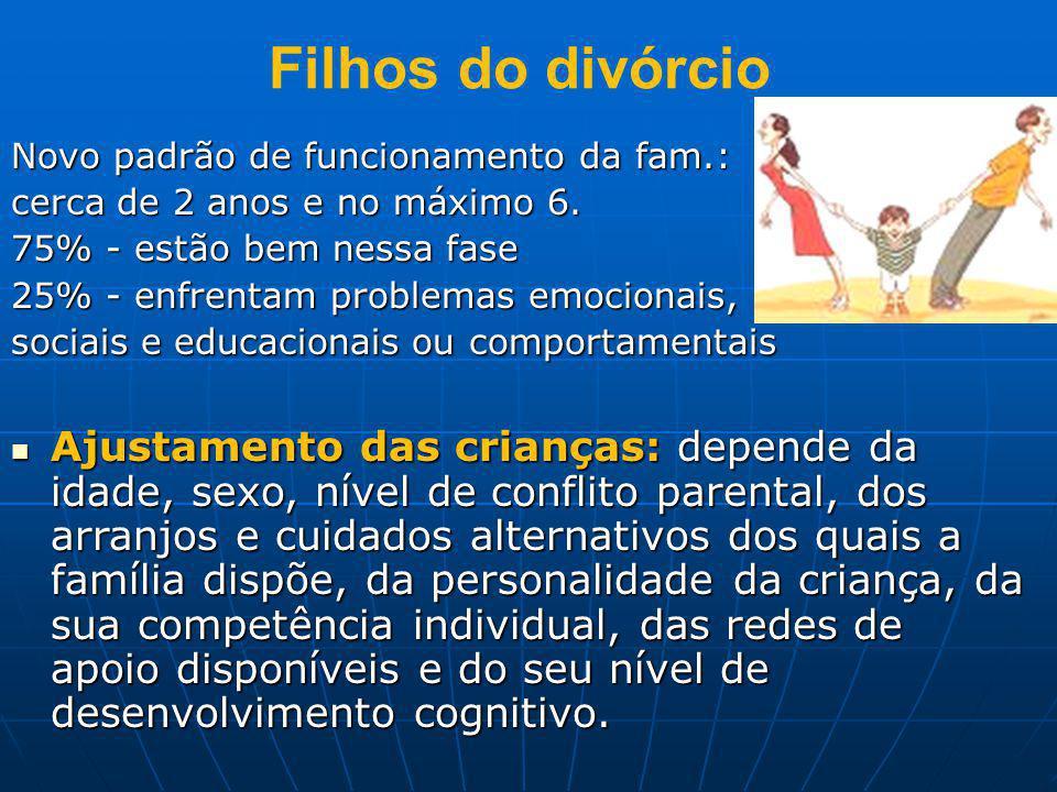 Filhos do divórcio Novo padrão de funcionamento da fam.: cerca de 2 anos e no máximo 6. 75% - estão bem nessa fase.