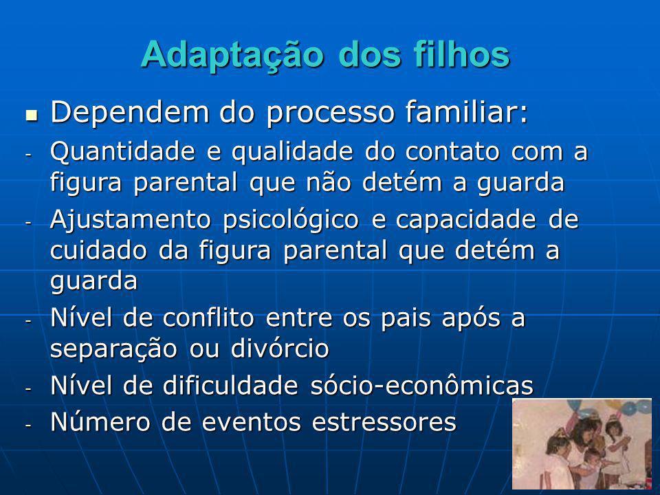 Adaptação dos filhos Dependem do processo familiar: