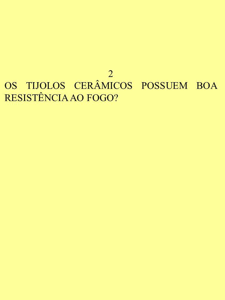 2 OS TIJOLOS CERÂMICOS POSSUEM BOA RESISTÊNCIA AO FOGO
