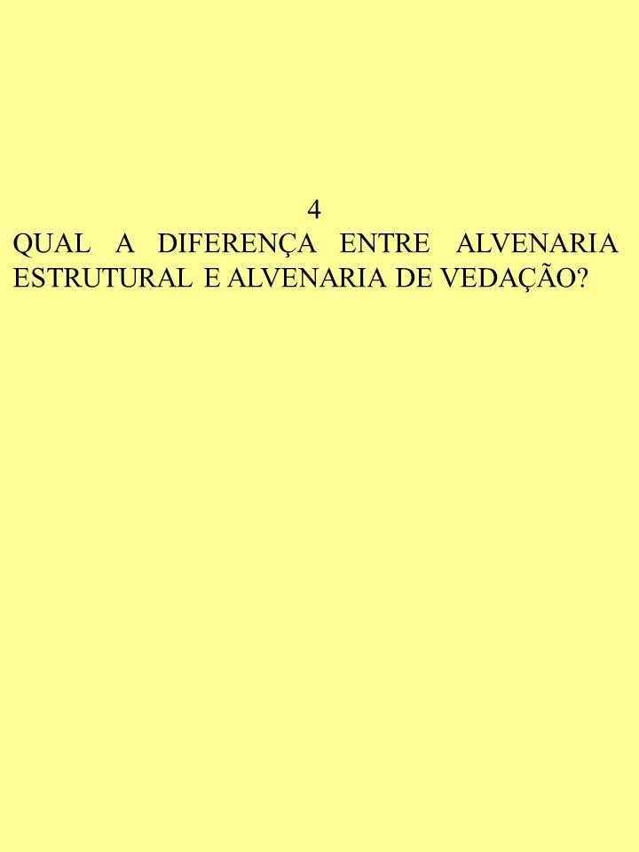 4 QUAL A DIFERENÇA ENTRE ALVENARIA ESTRUTURAL E ALVENARIA DE VEDAÇÃO