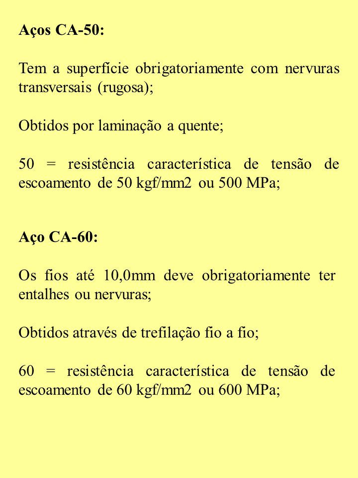 Aços CA-50: Tem a superfície obrigatoriamente com nervuras transversais (rugosa); Obtidos por laminação a quente;