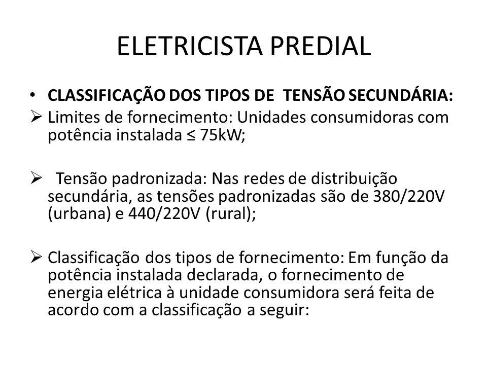 ELETRICISTA PREDIAL CLASSIFICAÇÃO DOS TIPOS DE TENSÃO SECUNDÁRIA: