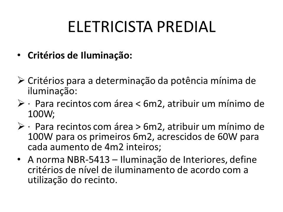 ELETRICISTA PREDIAL Critérios de Iluminação: