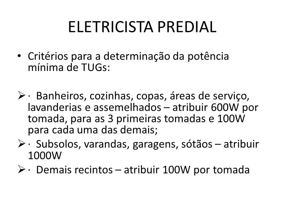 ELETRICISTA PREDIAL Critérios para a determinação da potência mínima de TUGs: