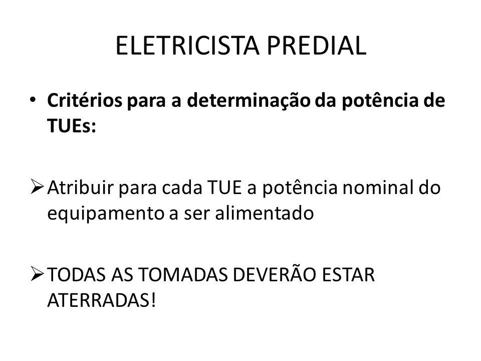 ELETRICISTA PREDIAL Critérios para a determinação da potência de TUEs: