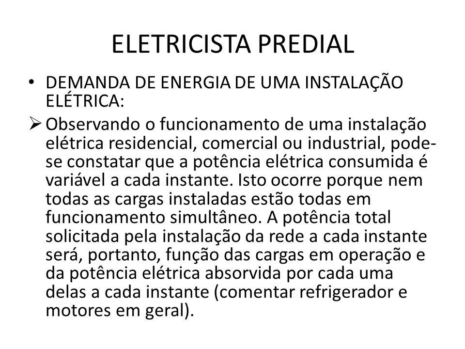 ELETRICISTA PREDIAL DEMANDA DE ENERGIA DE UMA INSTALAÇÃO ELÉTRICA: