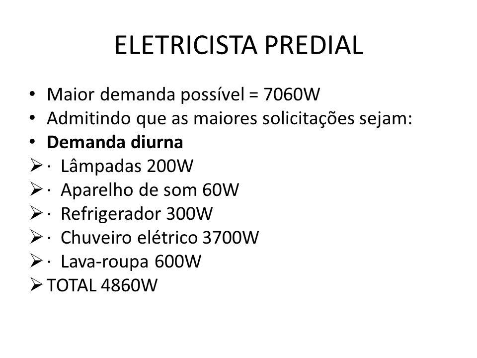 ELETRICISTA PREDIAL Maior demanda possível = 7060W