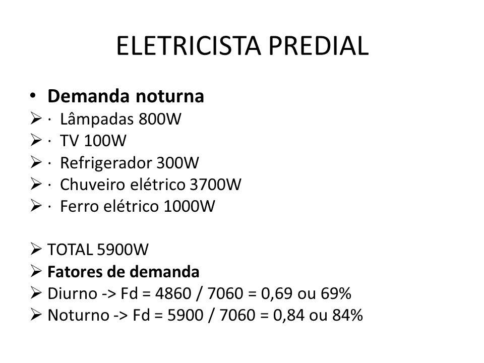 ELETRICISTA PREDIAL Demanda noturna · Lâmpadas 800W · TV 100W