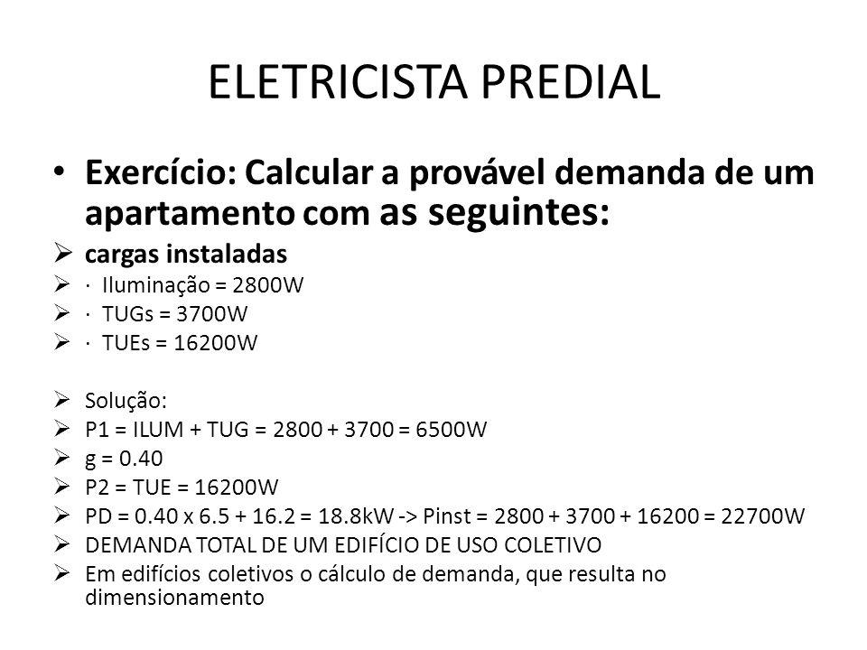 ELETRICISTA PREDIAL Exercício: Calcular a provável demanda de um apartamento com as seguintes: cargas instaladas.