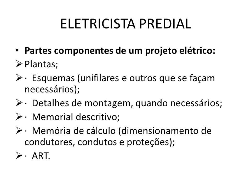 ELETRICISTA PREDIAL Partes componentes de um projeto elétrico: