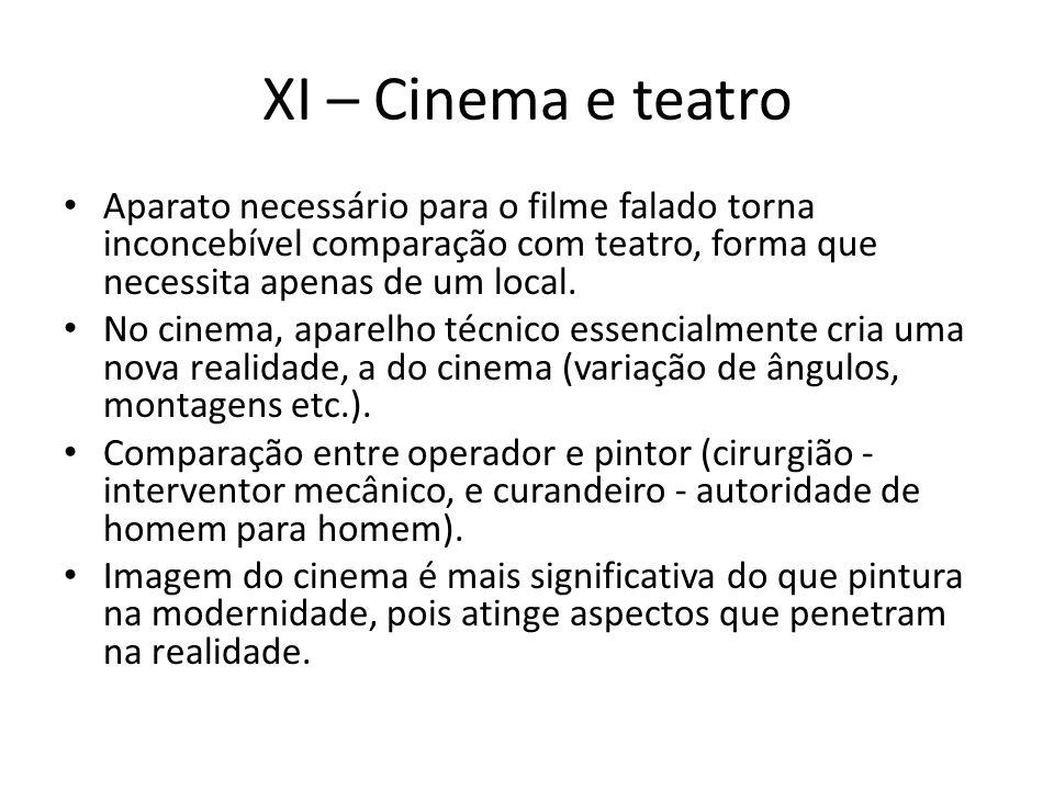 XI – Cinema e teatro Aparato necessário para o filme falado torna inconcebível comparação com teatro, forma que necessita apenas de um local.