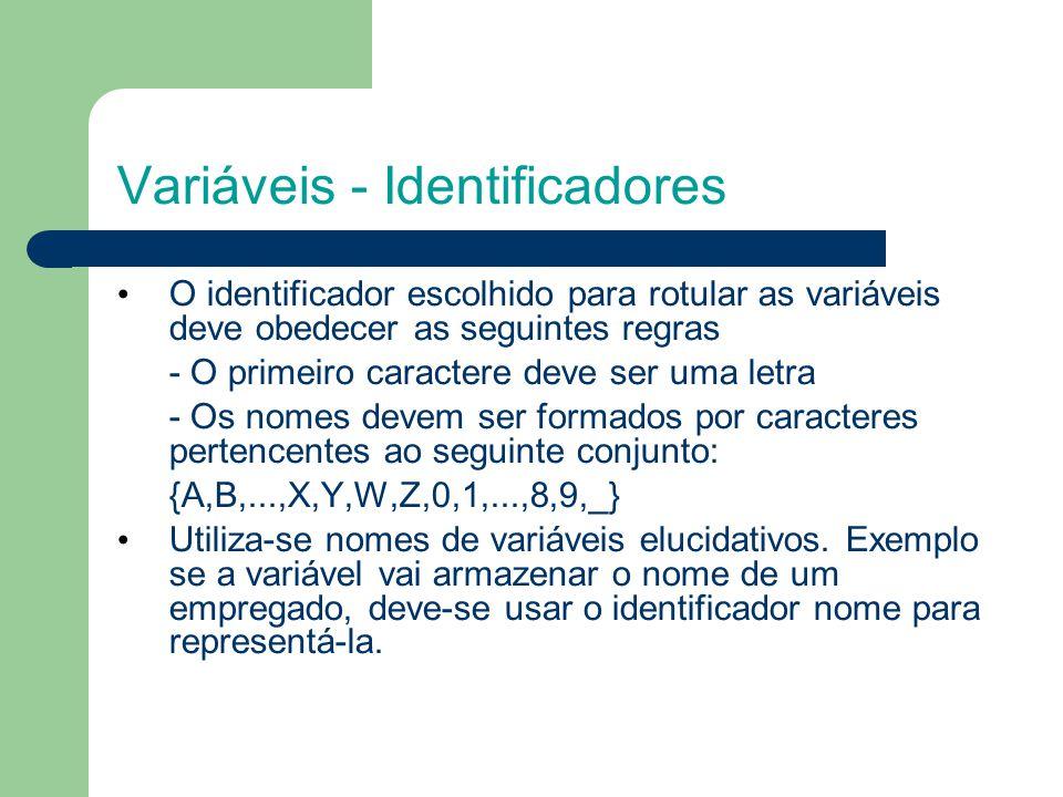 Variáveis - Identificadores