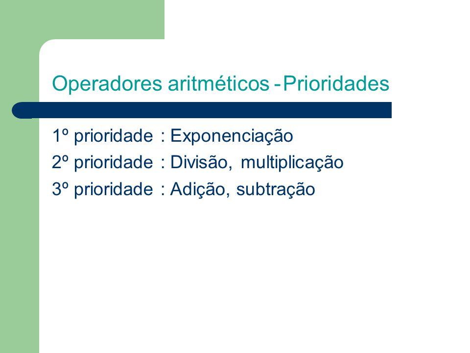 Operadores aritméticos - Prioridades