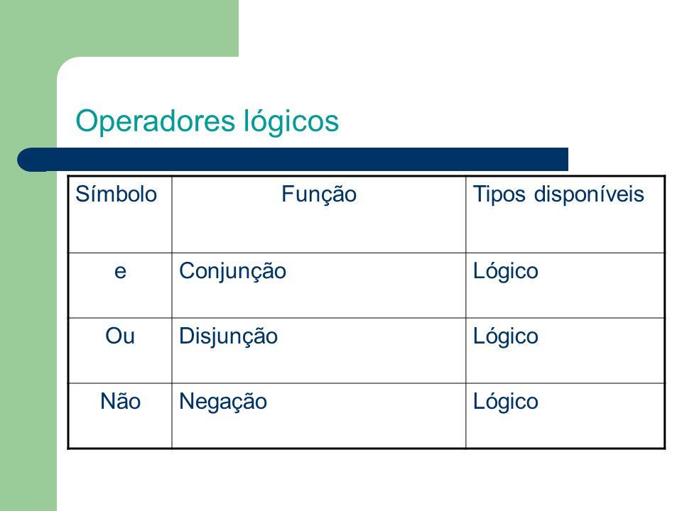 Operadores lógicos Símbolo Função Tipos disponíveis e Conjunção Lógico
