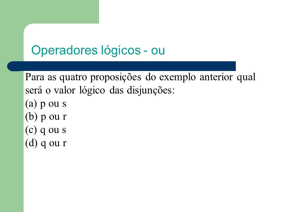 Operadores lógicos - ou